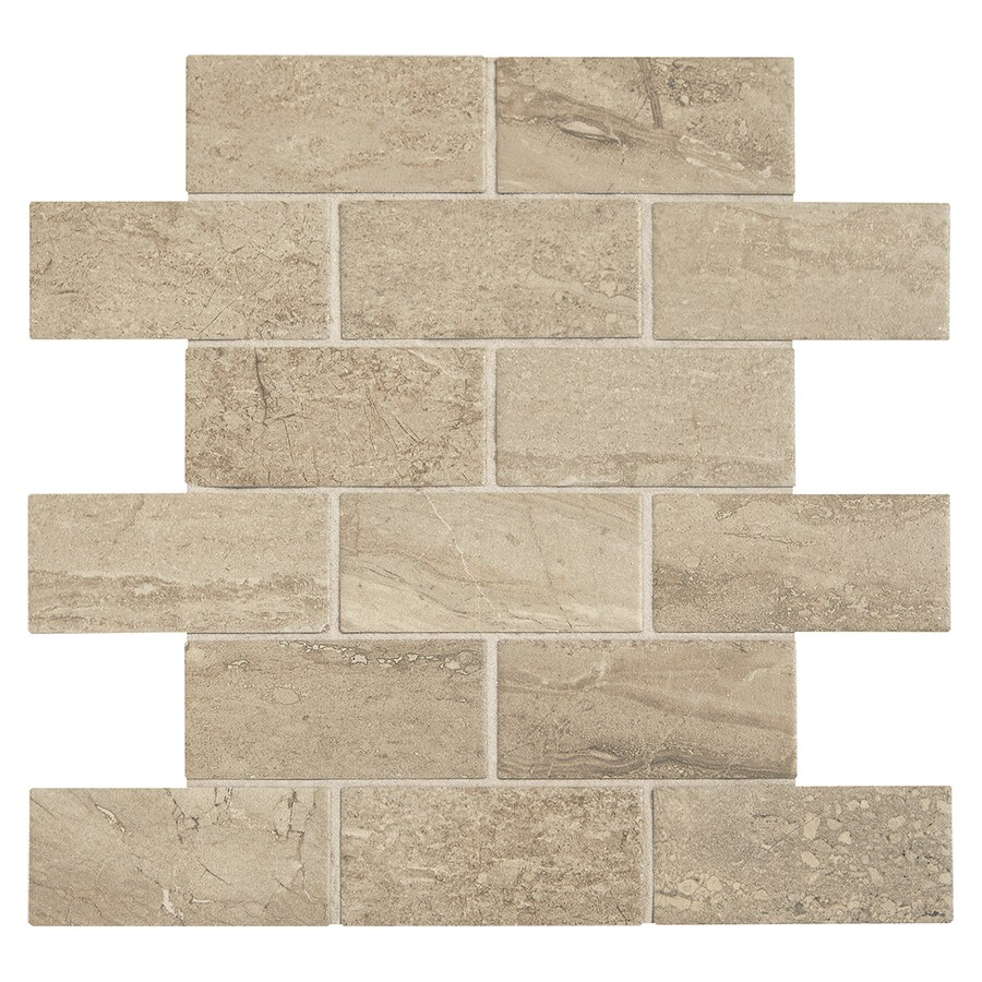 American Olean Fairmont Beach Uniform Squares Mosaic Wood Look Ceramic Floor and Wall Tile (Common: 12-in x 12-in; Actual: 12-in x 12-in)