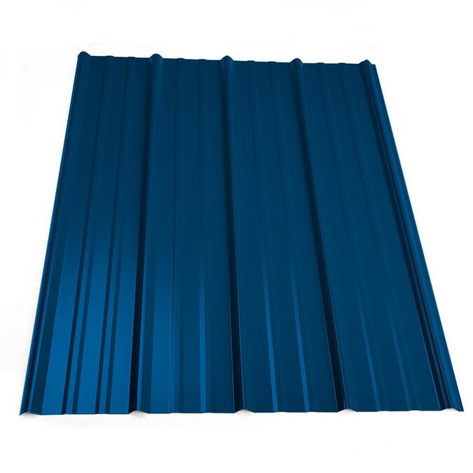 Metal Sales 3 Ft X 20 Ft Ribbed Blue Steel Roof Panel In The Roof Panels Department At Lowes Com