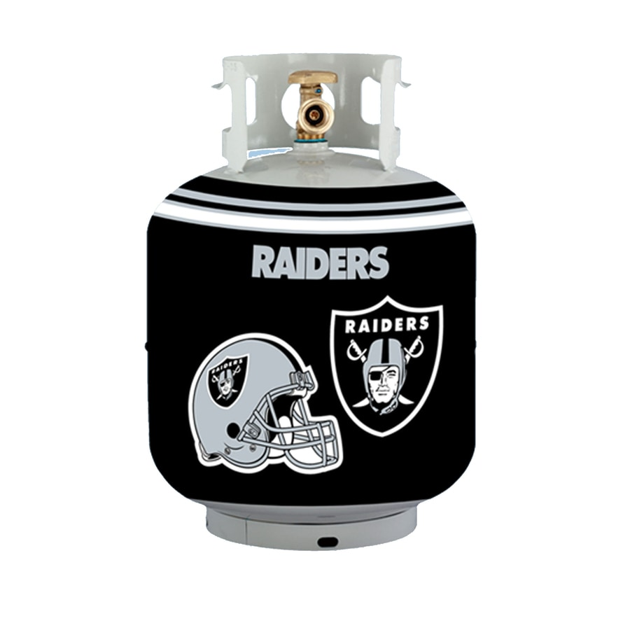 Bottle Skinz 16-in H x 34-in dia Black Polyester Oakland Raiders Propane Tank Cover