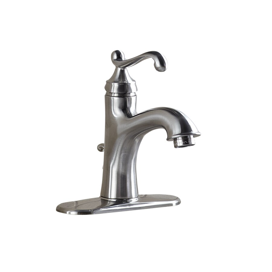 Giagni Pearl Brushed Nickel 1-Handle Single Hole/4-in Centerset WaterSense Bathroom Sink Faucet (Drain Included)