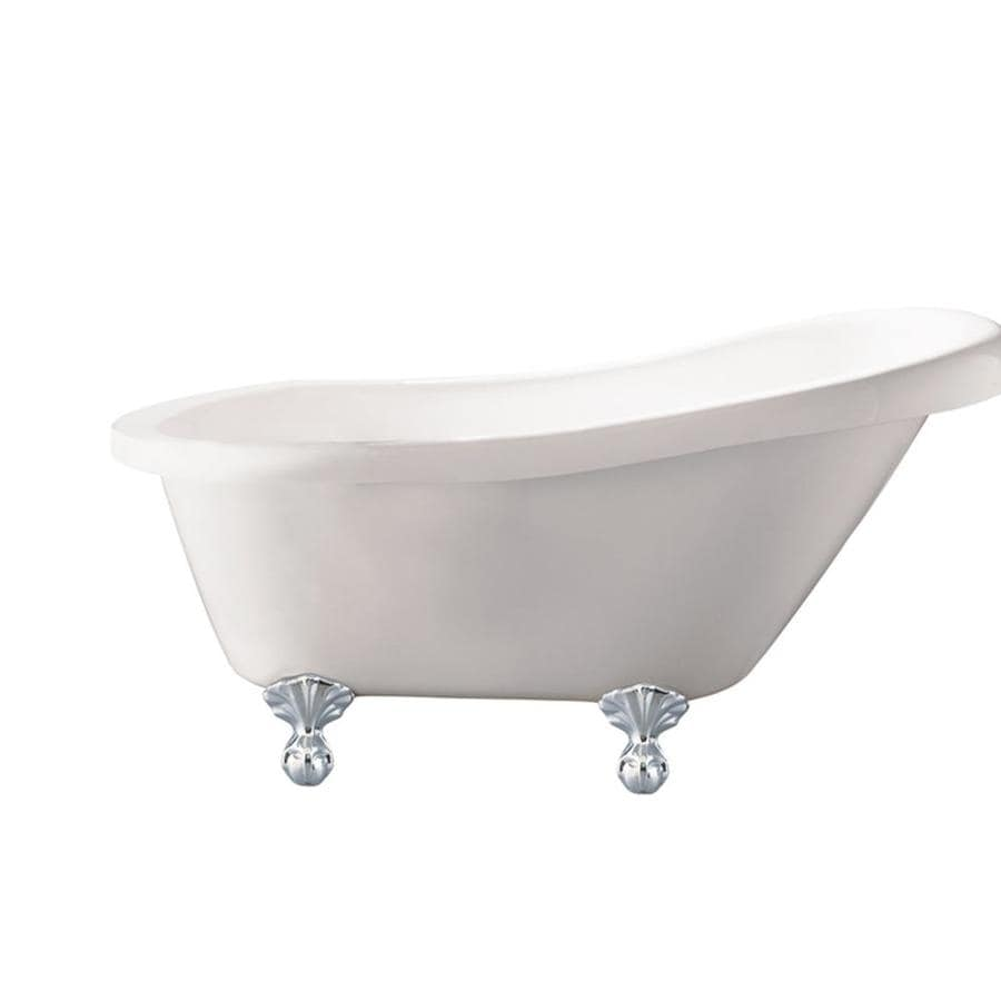 Giagni Newton Acrylic Oval Clawfoot Bathtub with Reversible Drain (Common: 32-in x 67-in; Actual: 30-in x 30.7-in x 67-in)