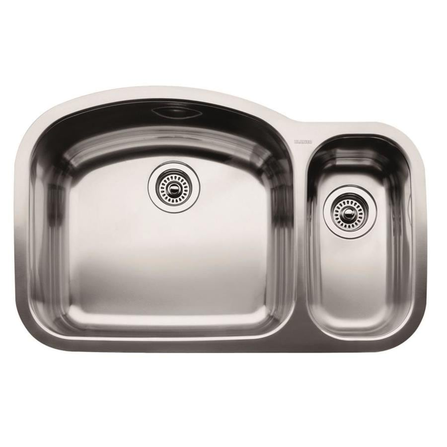 BLANCO Wave 20.87-in x 32.09-in Stainless Steel Double-Basin Undermount Residential Kitchen Sink