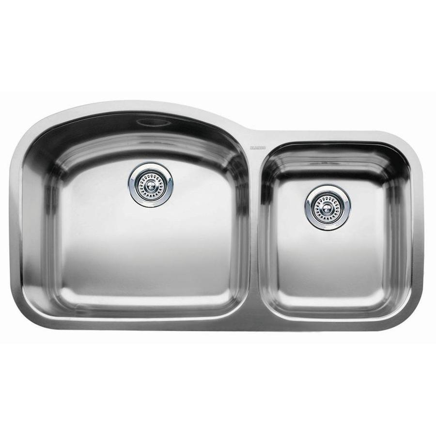 BLANCO Wave 20.87-in x 37.4-in Stainless Steel Double-Basin Undermount Residential Kitchen Sink