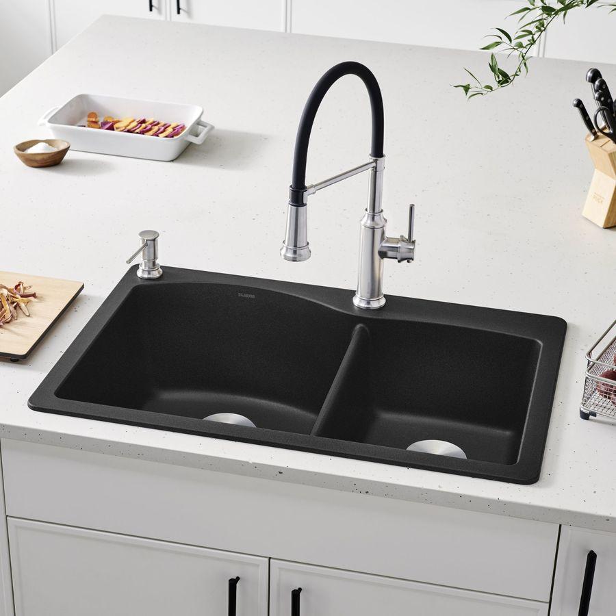 BLANCO Diamond 22-in x 33-in Anthracite Single-Basin Granite Drop-in or Undermount  Kitchen Sink