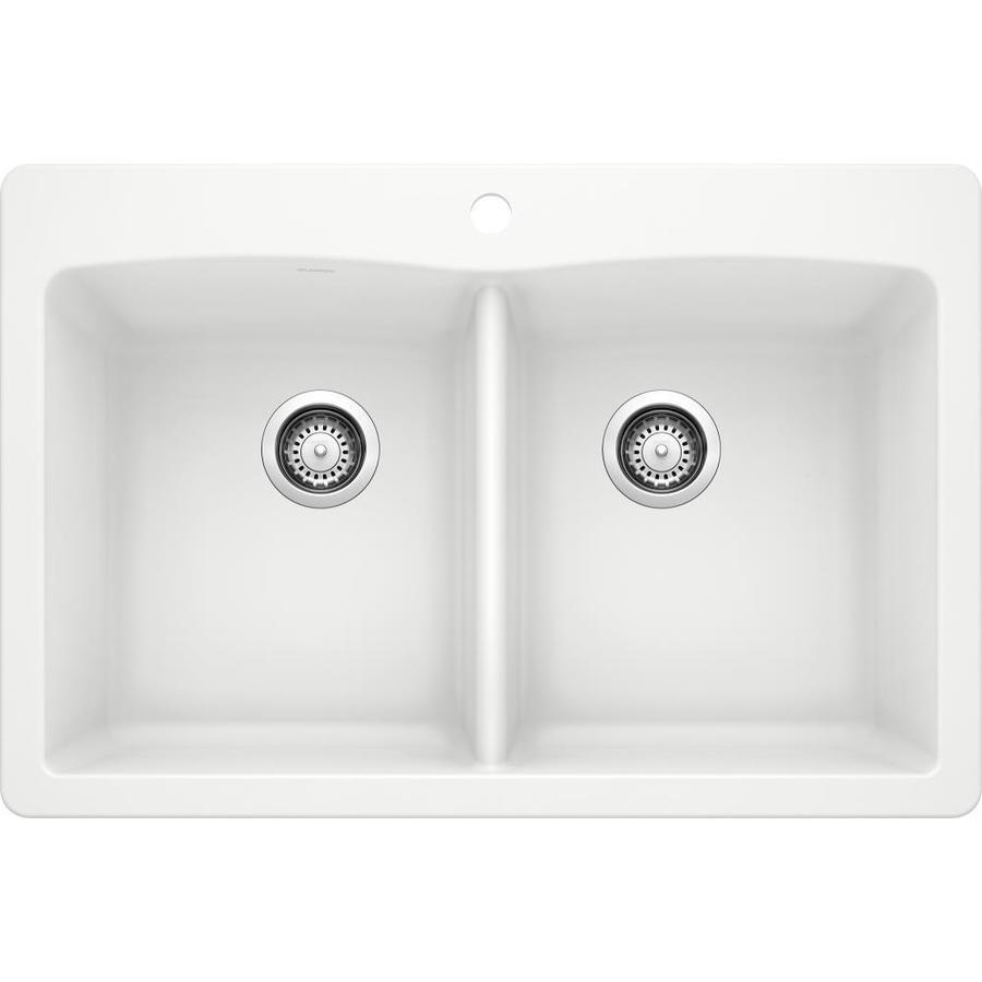 BLANCO Diamond 22-in x 33-in White Single-Basin Granite Drop-in or Undermount  Kitchen Sink