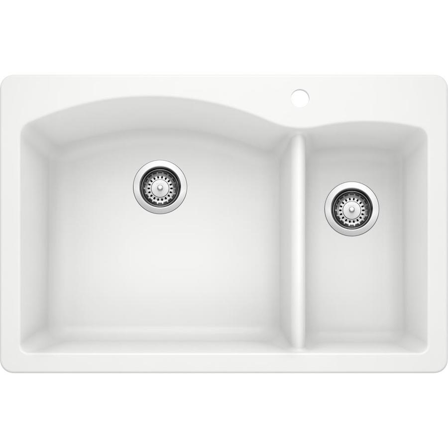 BLANCO Diamond 22-in x 33-in White Double-Basin Granite Drop-in or Undermount 1-Hole Residential Kitchen Sink