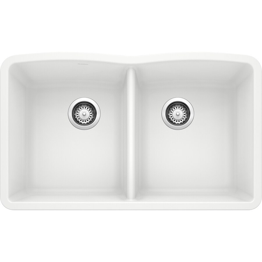 BLANCO Diamond 19.25-in x 32-in White Double-Basin Granite Undermount Residential Kitchen Sink
