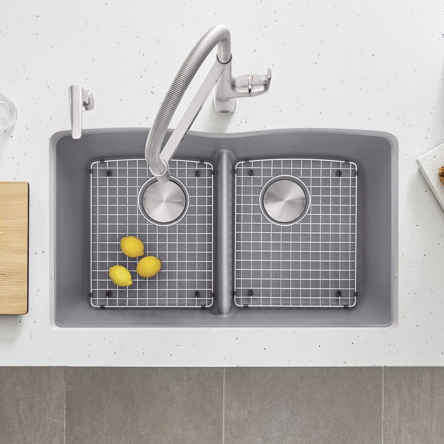 BLANCO Diamond 19.25-in x 32-in Metallic Gray Double-Basin Granite Undermount Residential Kitchen Sink