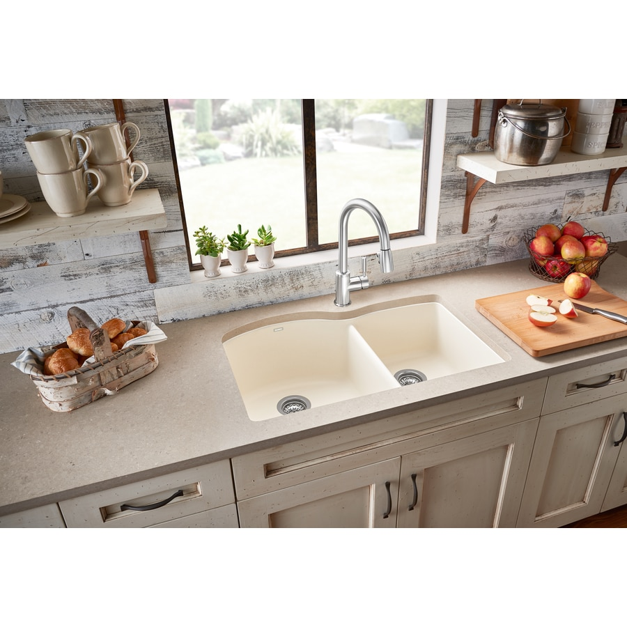 Shop BLANCO Diamond 20.843-in X 32-in Biscuit Double-Basin
