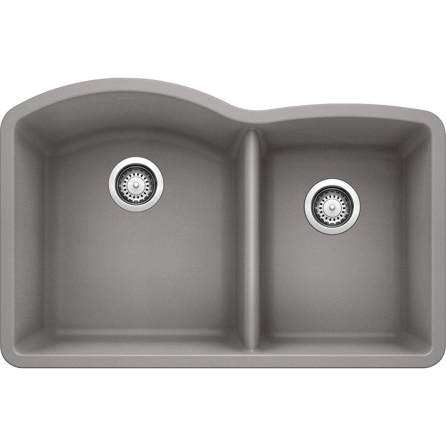 ... Metallic Gray Double-Basin Granite Undermount Residential Kitchen Sink