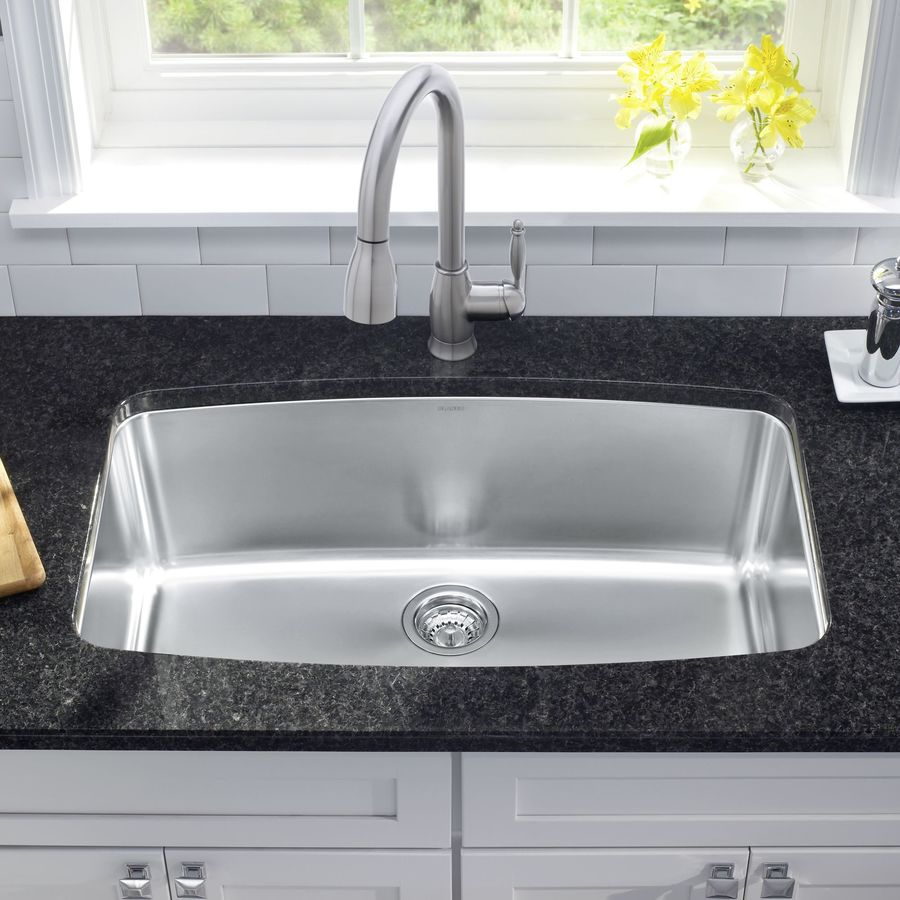 BLANCO Performa 19-in x 32-in Satin Polished Single-Basin Stainless Steel Undermount Residential Kitchen Sink