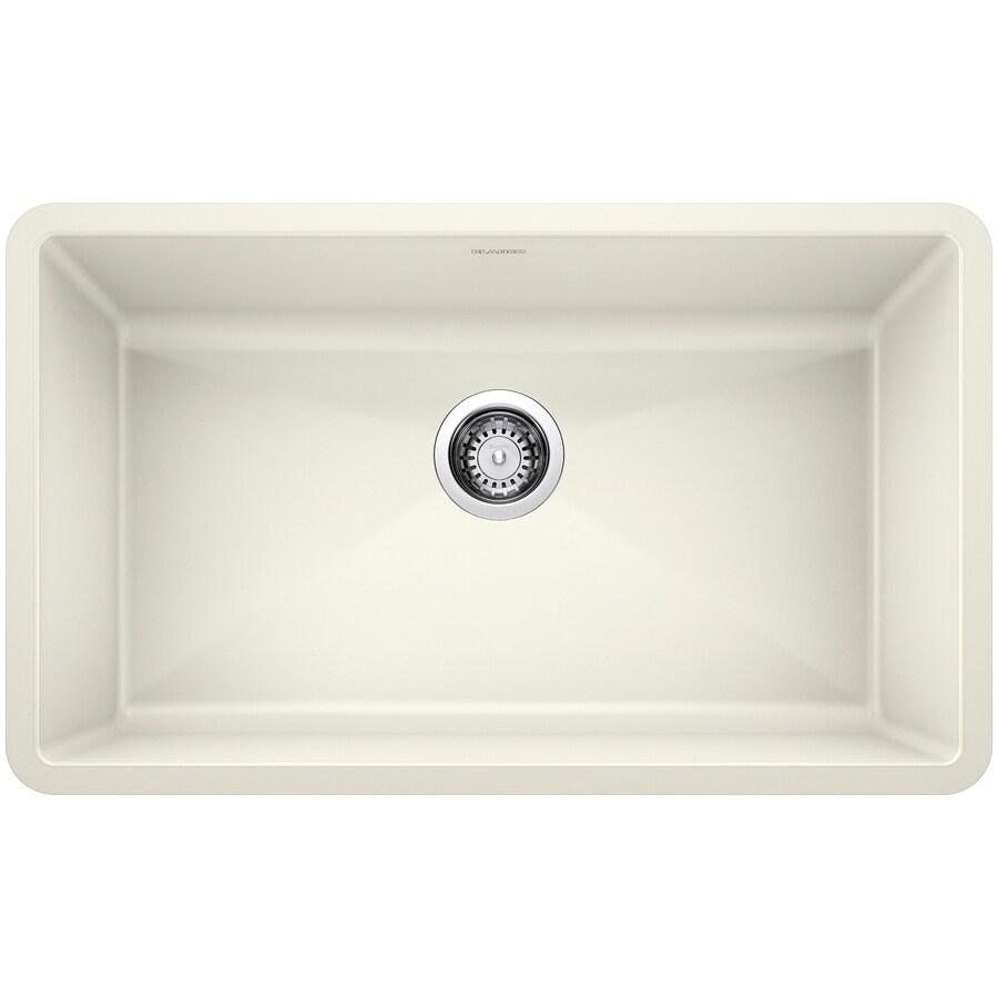 BLANCO Precis 18.75-in x 32-in Biscuit Single-Basin Granite Undermount Residential Kitchen Sink