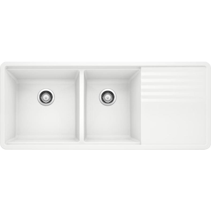 BLANCO Precis 20-in x 48-in White Double-Basin Granite Undermount Residential Kitchen Sink with Drainboard