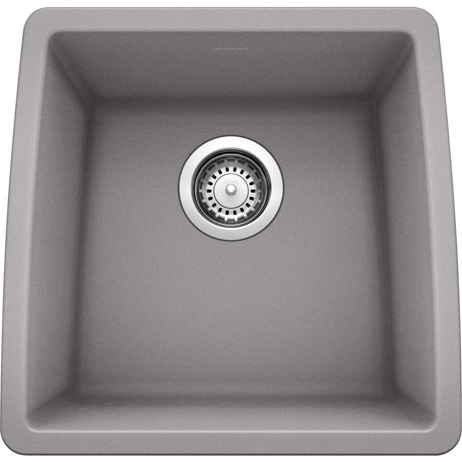 BLANCO Performa 17-in x 17.5-in Metallic Gray Single-Basin Granite Undermount Residential Kitchen Sink