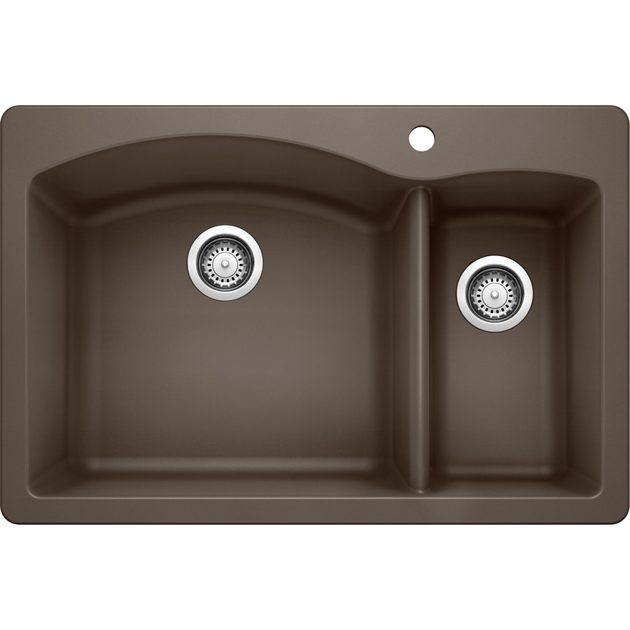 BLANCO Diamond 22-in x 33-in Cafe Brown Double-Basin Granite Drop-In or Undermount 1-Hole Residential Kitchen Sink