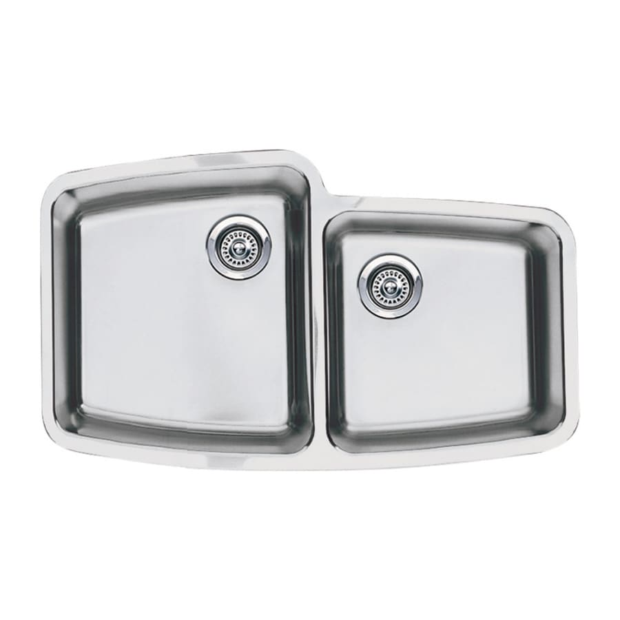 BLANCO Performa 20-in x 33.12-in Stainless Steel Double-Basin Undermount Residential Kitchen Sink