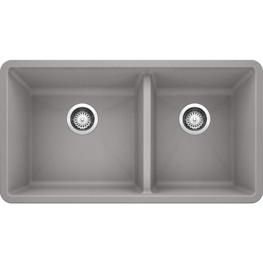Blanco Precis Sink : Shop BLANCO Precis 18-in x 33-in Gray Double-Basin Granite Undermount ...