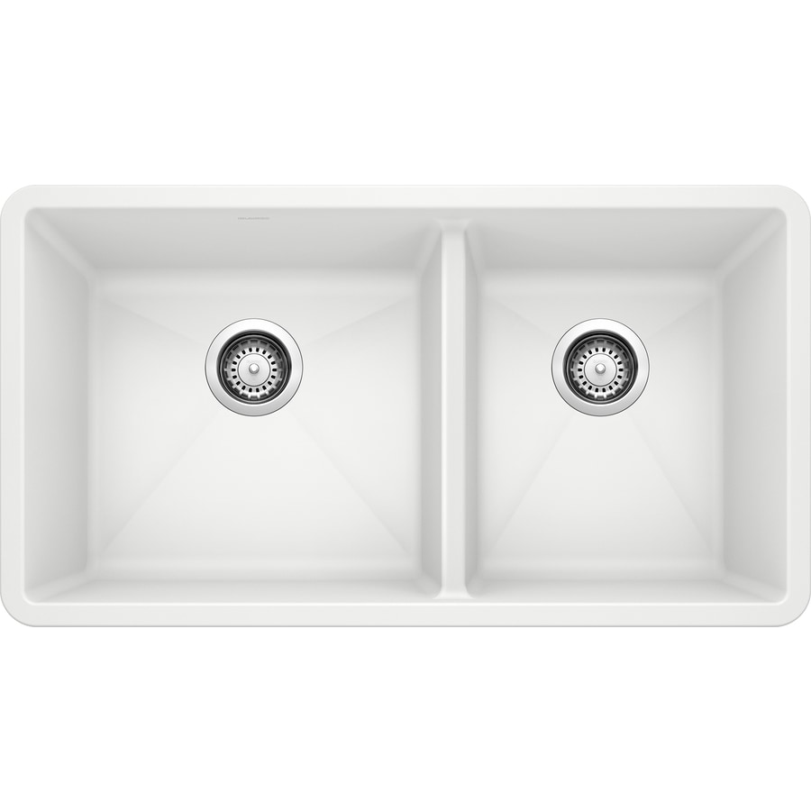 Shop BLANCO Precis 18-in x 33-in White Double-Basin Granite Undermount ...