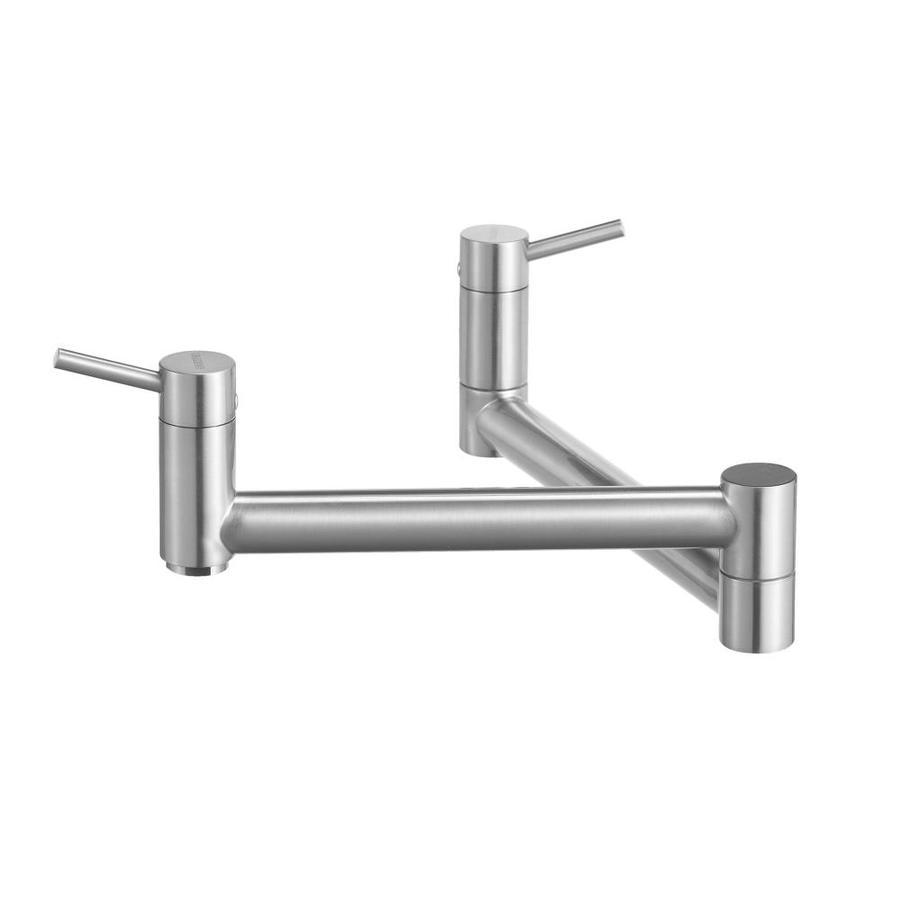 Shop Blanco Cantata Satin Nickel 2 Handle Pot Filler Wall Mount Kitchen Faucet At