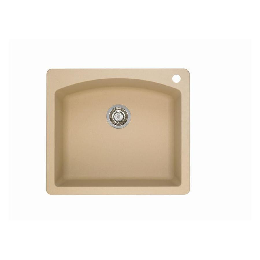 BLANCO Diamond 22-in x 25-in Biscotti Single-Basin Granite Drop-in or Undermount 1-Hole Residential Kitchen Sink