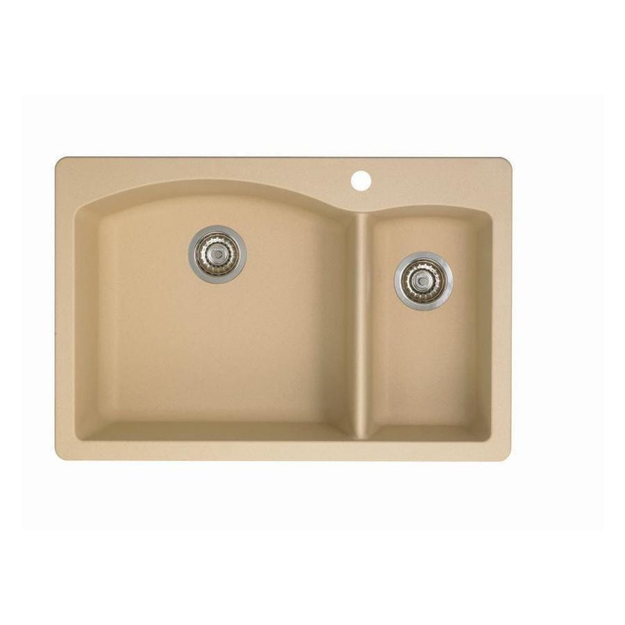 BLANCO Diamond 22-in x 33-in Biscotti Double-Basin Granite Drop-in or Undermount 1-Hole Residential Kitchen Sink
