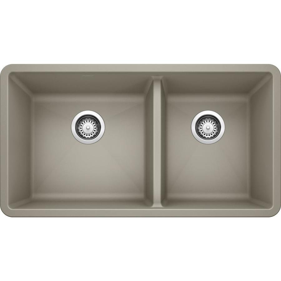 BLANCO Precis 18-in x 33-in Truffle Double-Basin Granite Undermount Residential Kitchen Sink