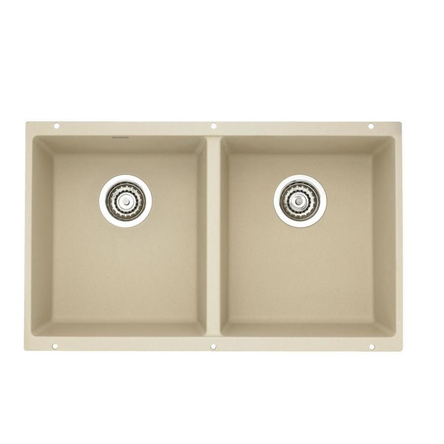 Granite Sinks Blanco : Shop BLANCO Precis 18.125-in x 29.75-in Biscotti Double-Basin Granite ...