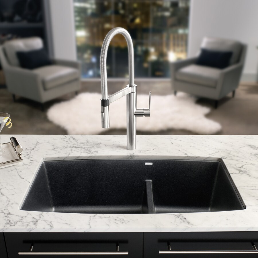 BLANCO Performa 19-in x 33-in Anthracite Double-Basin Granite Undermount Residential Kitchen Sink