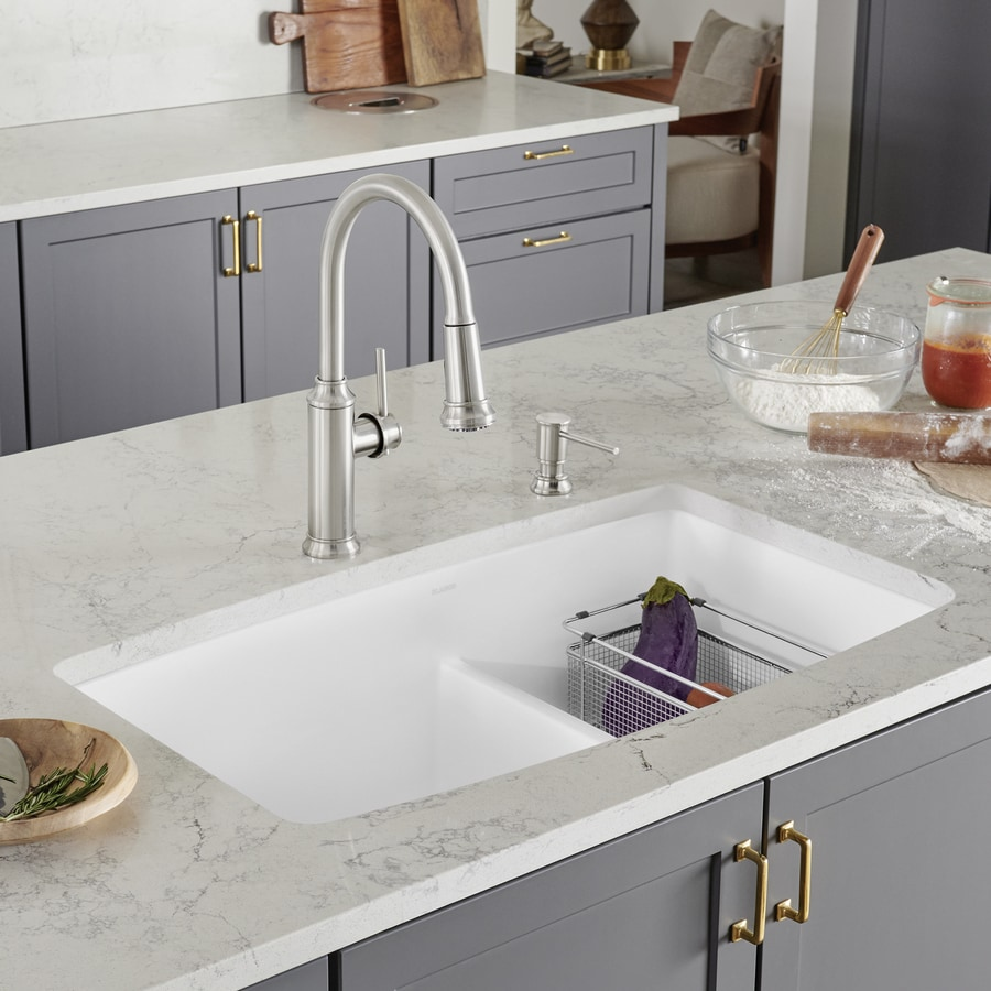 ... 33-in White Double-Basin Granite Undermount Residential Kitchen Sink
