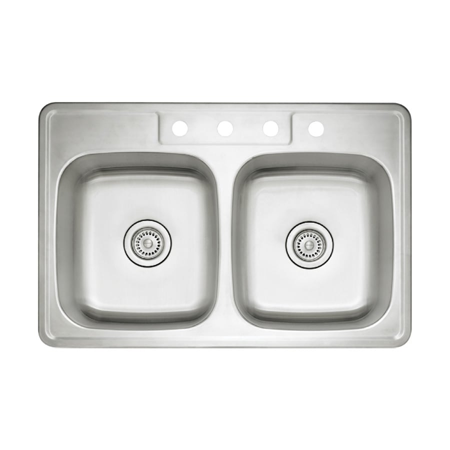 BLANCO Spex II 22-in x 33-in Refined Brushed Double-Basin Stainless Steel Drop-In 4-Hole Residential Kitchen Sink