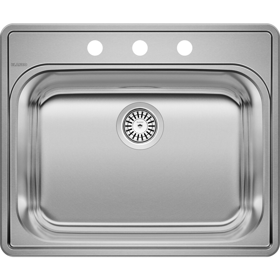 BLANCO Essential 22-in x 25-in Brushed Satin Single-Basin Stainless Steel Drop-in 3-Hole Residential Kitchen Sink