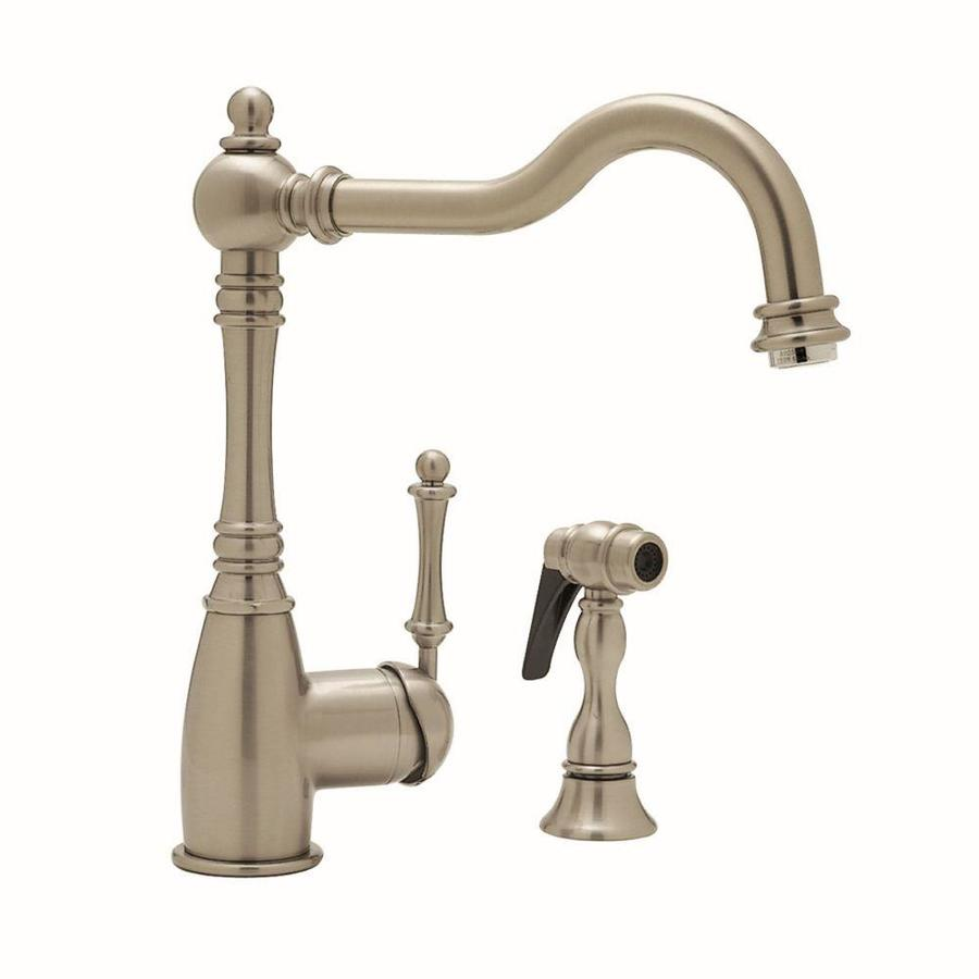 BLANCO Grace Satin Nickel 1-Handle High-Arc Kitchen Faucet with Side Spray