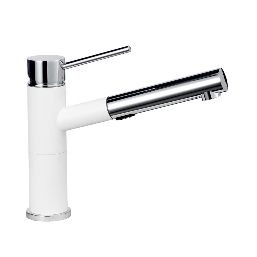 BLANCO Alta Compact White/Chrome 1-Handle Pull-Out Kitchen Faucet