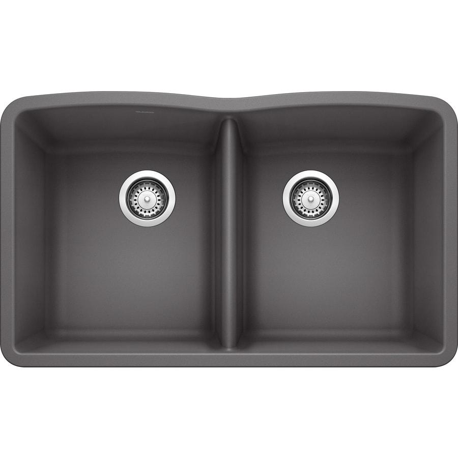 BLANCO Diamond 19.25-in x 32-in Cinder Double-Basin Granite Undermount Residential Kitchen Sink