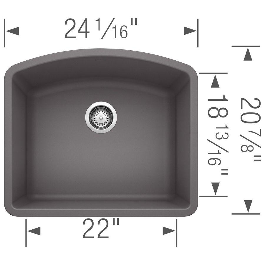 BLANCO Diamond 20.813-in x 24-in Cinder Single-Basin Granite Undermount Residential Kitchen Sink