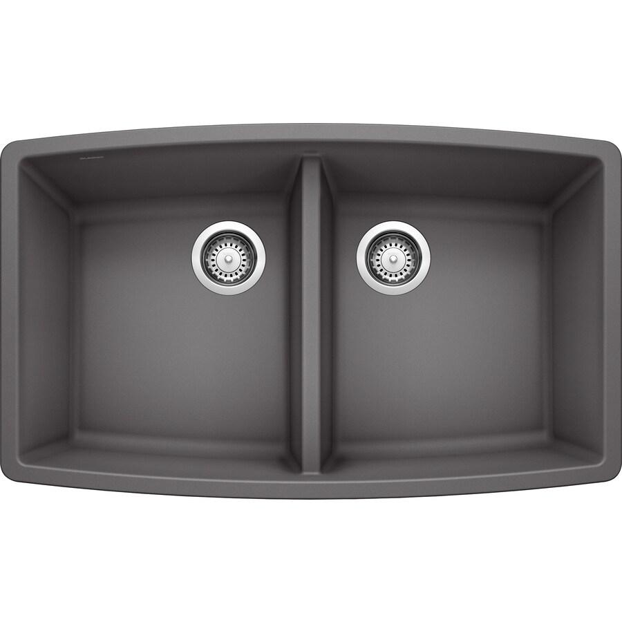 Cinder Blanco Sink : BLANCO Performa 20-in x 33-in Cinder Double-Basin Granite Undermount ...