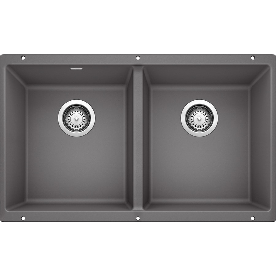 BLANCO Precis 18.125-in x 29.75-in Cinder Double-Basin Granite Undermount Residential Kitchen Sink