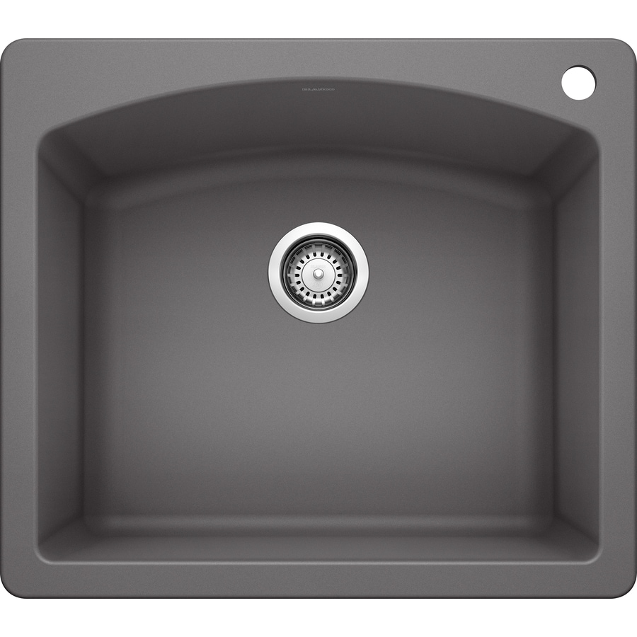 BLANCO Diamond 22-in x 25-in Cinder Single-Basin Granite Drop-in or Undermount 2-Hole Residential Kitchen Sink