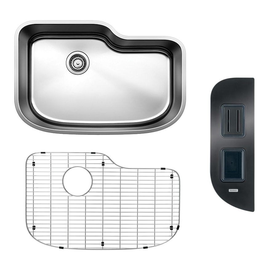BLANCO One 30-in x 20-in Satin Single-Basin Stainless Steel Undermount Residential Kitchen Sink All-In-One Kit