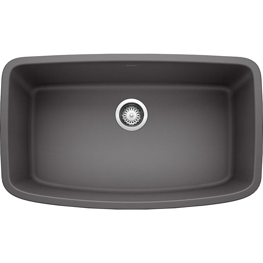 Cinder Blanco Sink : Shop BLANCO Valea 19-in x 32-in Cinder Single-Basin Granite Undermount ...