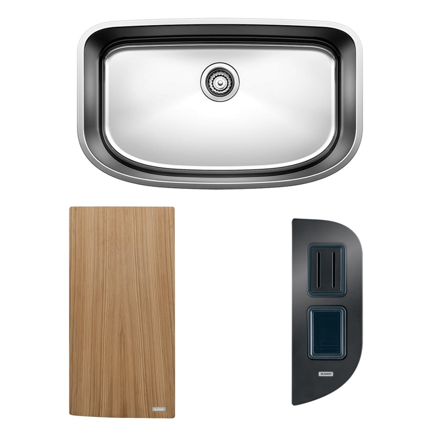 BLANCO One 30-in x 18-in Satin Single-Basin Stainless Steel Undermount Residential Kitchen Sink All-In-One Kit