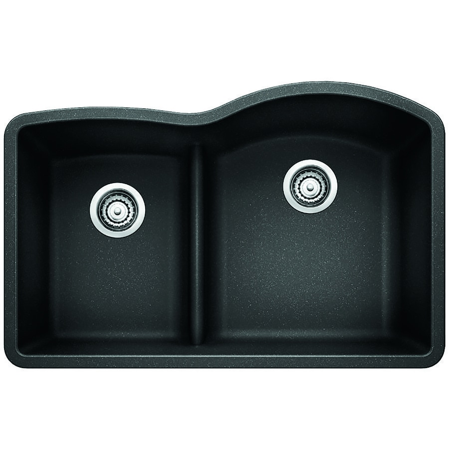 BLANCO Diamond 32-in x 20.875-in Anthracite Double-Basin Granite Undermount Residential Kitchen Sink