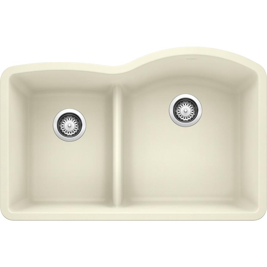 BLANCO Diamond 32-in x 20.875-in Biscuit Double-Basin Granite Undermount Residential Kitchen Sink