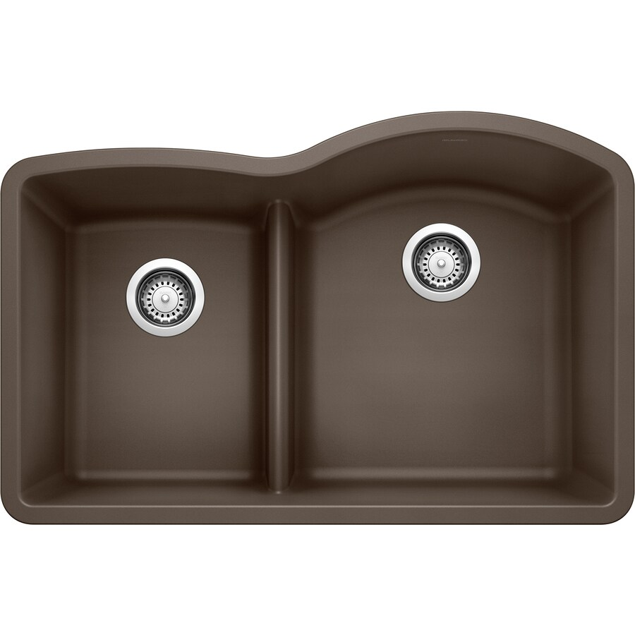 BLANCO Diamond 32-in x 20.875-in Cafe Brown Double-Basin Granite Undermount Residential Kitchen Sink