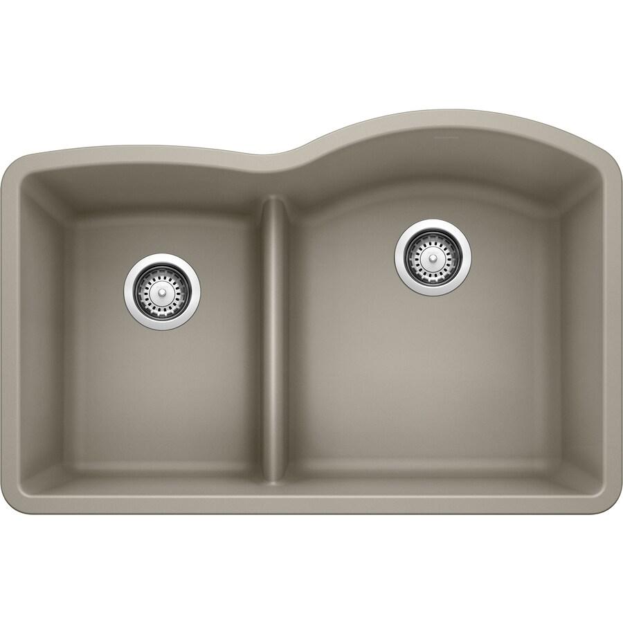 BLANCO Diamond 32-in x 20.875-in Truffle Double-Basin Granite Undermount Residential Kitchen Sink
