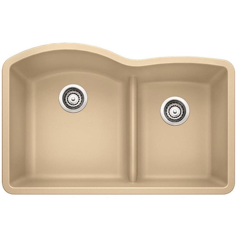 BLANCO Diamond 32-in x 20.875-in Biscotti Double-Basin Granite Undermount Residential Kitchen Sink