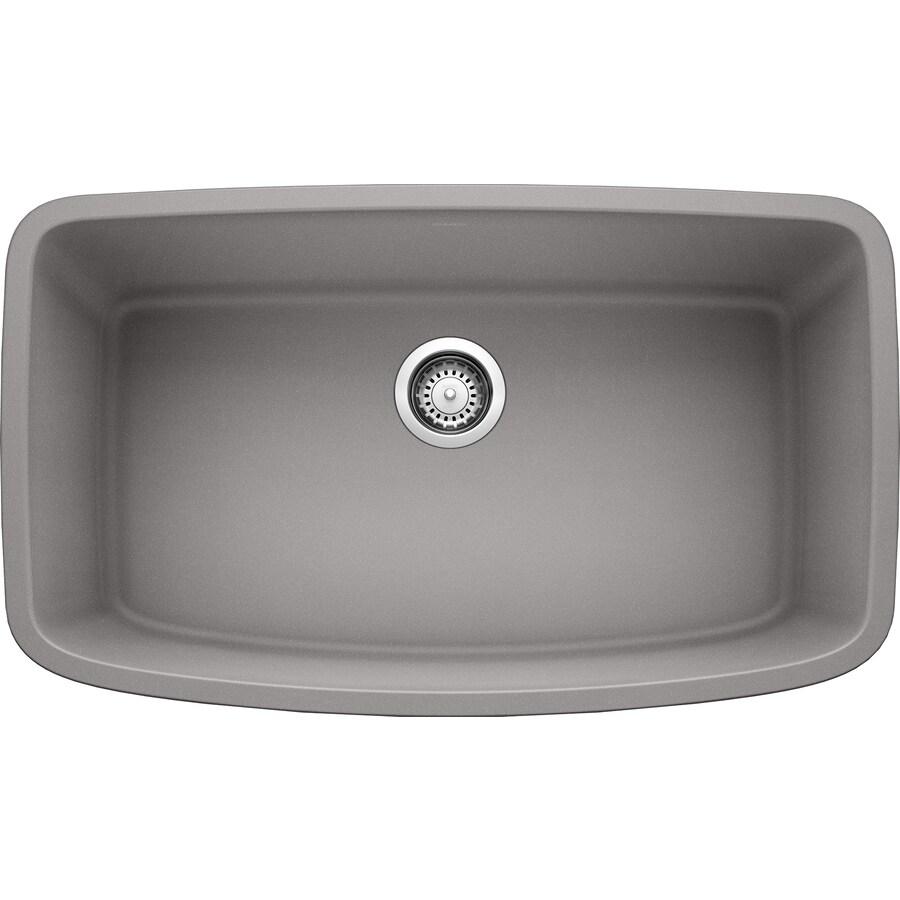 BLANCO Valea 19-in x 32-in Metallic Gray Single-Basin Granite Undermount Residential Kitchen Sink