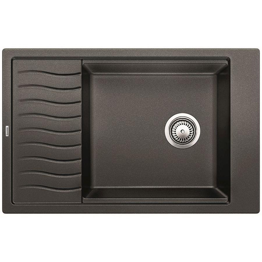 BLANCO Precis 19.6875-in x 30.6875-in Anthracite Single-Basin Granite Drop-in or Undermount Residential Kitchen Sink with Drainboard