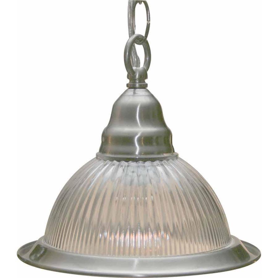 Byars 7.5-in Brushed Nickel Mini Ribbed Glass Pendant