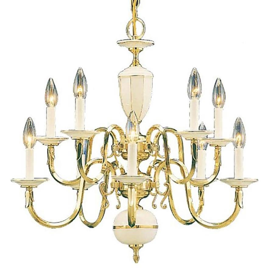 Glyndon 24-in 10-Light Polished Solid Brass Candle Chandelier